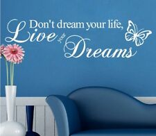 Don't Dream Your Life Live Your Dreams White Wall Sticker Home Decor Decals