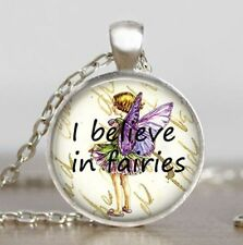 Vintage believe in fairies Cabochon silver Glass Chain Pendant Necklace new