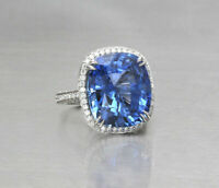 Certified 4.32CT New Blue Diamond Cushion Cut 14K White Gold Engagement Ring Set