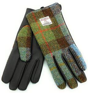 Damen Authentisch Harris Tweed & Leder Handschuhe Gunn Tartan COL15