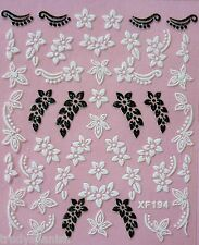 3D Nail Art Lace Stickers Decals White Black Flowers Daisies Gel Polish (194)