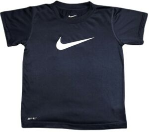 NIKE Dry-Fit Boy's Short Sleeve Shirt Sz M(6) Navy Blue With White Center Swoosh
