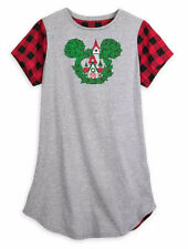 Disney Parks Christmas Holiday Nightshirt PJ Mickey Mouse for Women M/L NEW