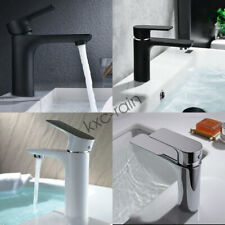 Bathroom Basin Mixer Taps Flick Short Spout GLOSS BLACK / WHITE Round Faucet