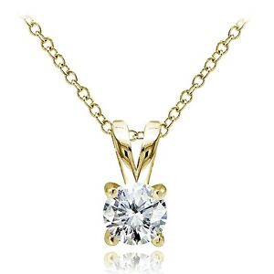 Gold Tone over Sterling Silver 1/2ct Cubic Zirconia 5mm Round Solitaire Necklace