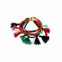 Panacea Beaded Stone & Crystal 5-Layer Stretch Bracelet w/Tassels, New $55