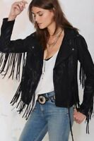 Womens Suede Leather Black Fringe Native American Western Style Cowgirl Jacket