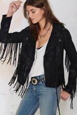 Womens Suede Leather Black Fringe Native American Western Style Cowboy Jacket