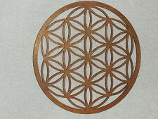 Large Dark Wood Finished Flower Of Life Wall Decor Art