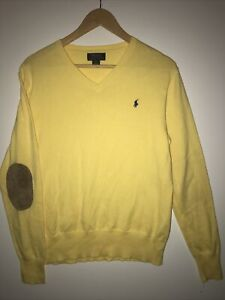 Ralph Lauren Polo Yellow V-Neck Sweater w/ Suede Elbow Pads Boys XL (18-20)
