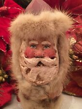 Santa Christmas Folk Art Vintage Rare Sandy's Wood Carved Mink Fur Paper Mache