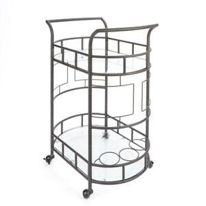 Sinclair 2-Tier Metal Frame Glass Top Serving Cart in Hammered Bronze Finish