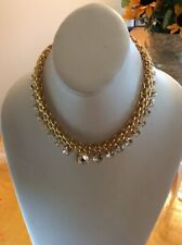 NWT  Carolee  Gold tone  graduated crystal statement necklace P76