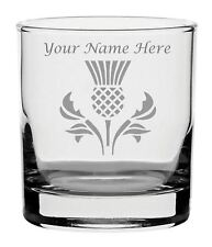 Personalised Engraved Whisky Glass With Scottish Thistle Design