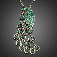 Gorgeous Ladies Vintage Style Peacock Long Rhinestone Pendant Necklace Gift