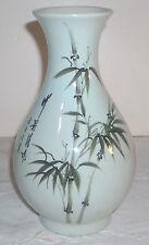 "Vintage 7"" Hand Painted Japanese Bamboo Motif Porcelain Vase"