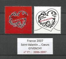 FRANCE 2007...HEARTS...Saint-Valentin...GYVENCHY...YT 3996-97...MNH