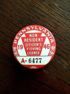 1946 Pennsylvania Non-Resident Fishing License Button Pin CLEAN