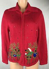 Tiara International Christmas Collection M Reindeer Sequin Cardigan Sweater -