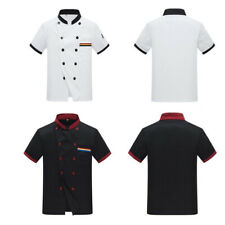 FT- ITS- Unisex Short Sleeves Chef Jacket Coat Stand Collar Couple Cook Work Top