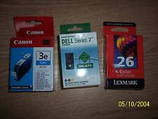 Dell Series 7 Color Ink Cartridge, CH884, CANON 3E CYAN AND LEXMARK 26 COLOR