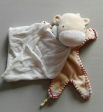 Doudou Vache beige bandana Mouchoir blanc Marèse