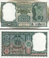 India 5 Rupees 1962-1967, UNC, P-36a, Letter A, Sign 75, P.C.Bhattacharyya