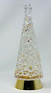 "BATH BODY WORKS CHRISTMAS TREE CLEAR GOLD LIGHT UP GLITTER DECOR WHITE BARN 12"""