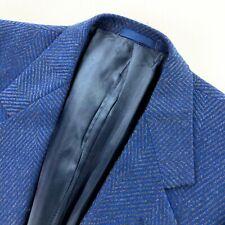 Gianni Versace Men's Cashmere Bespoke 1-Button Blazer Jacket Blue Zig Zag • 40 R