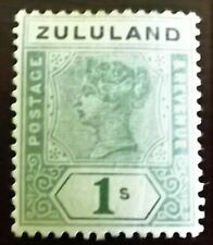 QV 1894-96 1/- GREEN MINT HINGED Wmk. CROWN CA P.14 S.G.25