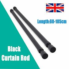 60-105cm Extendable Eyelet Metal Curtain Pole Polished Chrome Brass Black