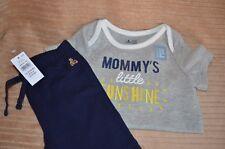 NWT Baby Gap Boy/Girl Bear logo Pants & Short Sleeve Bodysuit 12-18mons SUNSHINE