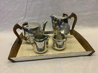 Vintage Retro Picquot Ware Tea Coffee Sugar Milk Jug Tray Set 5 Pieces 1950s/60s