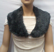 FASHION FAUX FUR COLLAR : PRE CUT AND FULLY LINED :  GREY/BLACK : #T593 -