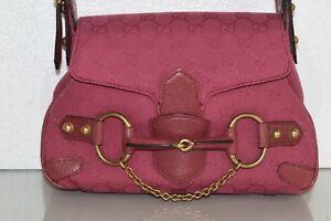NEW GUCCI Tom Ford Era GUCCISSIMA Canvas DEEP PINK Handbag Bag Gold HORSEBIT