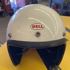 Size 7 3/4 Vintage Bell RT WHITE Open Face BELL R/T HELMET 1971
