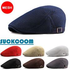 dc0d1b88488d9 Mens Womens Summer Beret Breathable mesh Gatsby cap Newsboy hat Cabbie Flat  Cap