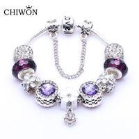 Pulsera con charms de cristal austriaco, elegante, calidad, rosa, azul, morado