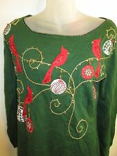 Jack B. Quick Holiday Sweater Top M NWT Christmas Gold Red Sequin Beaded Party