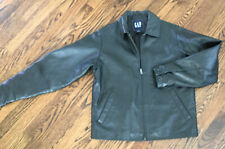 Vintage Gap 90s Size XS Black Leather Jacket Genuine Leather Heavy EUC