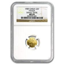 1989 China 1/20 oz Gold Panda Small Date MS-69 NGC