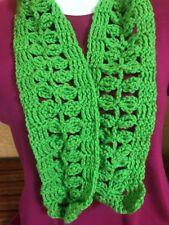 LITTLE LEAVES lime GREEN YARN LACY Scarf Crochet Knit Handmade OOAK