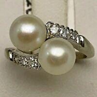 Pearl Duet (6.75mm Each) W/ Diamond Design Ring on 14K White Gold, Ring Size 4.0