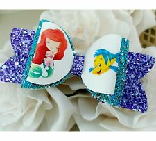 """Turquoise Lilac Glitter Mermaid Princess inspired Hair Bow Clip 3.5"""""""