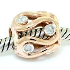 Massive Diamond 9ct Solid Rose Gold Bead Charm Fits Euro Bracelets 30 Day Return