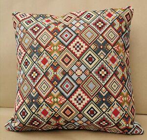 "Aztec Cushion, 17x17"", Geometric, Tapestry, Kapok, Handmade, double-sided, zip"