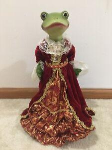 """Frog Dressed in a Velvet Dress Christmas Tree Topper 18"""" New"""
