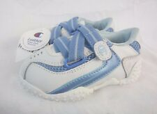 Champion Leather White Blue Baby Boy Sz 4C Wide Hook and Loop Sneakers Shoe SS1