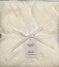 """William Sonoma Italian Washed Linen Tablecloth Round, 90"""", Flax, New  W/ $159.95"""