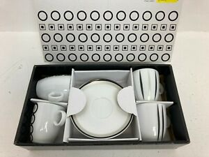 Maxwell Williams Jazz Cups and Saucers White Black Boxed B34